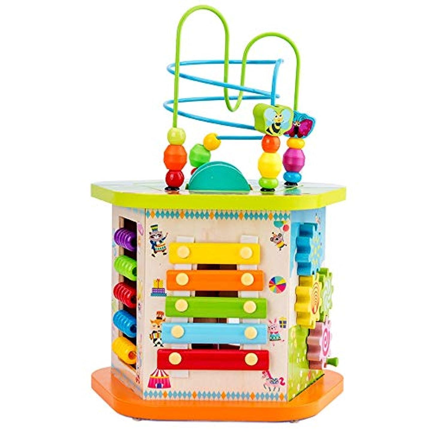 鋸歯状含める満たす木製アクティビティキューブ アーリーラーニング活動キューブおもちゃ、大型の多機能木製活動キューブビーズ迷路教育玩具 アクティビティキューブおもちゃ (Color : Multi-colored, Size : Free size)