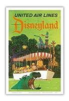 ディズニーランドカリフォルニア州 - ユナイテッドエアラインズ - アドベンチャージャングルクルーズカバ - ビンテージな航空会社のポスター によって作成された スタン・ガリ c.1960s - アートポスター - 31cm x 46cm