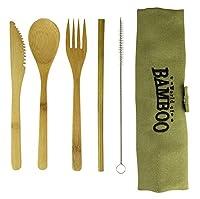 竹製カトラリー エコフレンドリー ナイフとフォーク トラベルセット