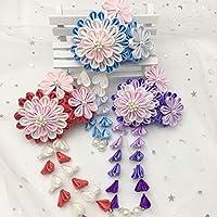 コングミンノ 日本ハンドメイドと風の花赤タッセル紫勾配ヘアアクセサリーアンティークかわいいヘッドドレス