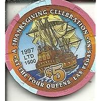 $ 5 Four Queens感謝祭1997カジノチップLas Vegas Nevada