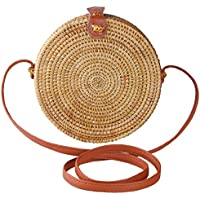 Partrisee Rattan bags for Women, Round Straw Shoulder Crossbody Tote bags Handwoven by Bali Artisans