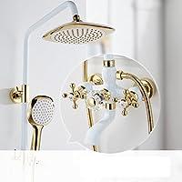 Peacefre アメリカンスタイルのシャワーセット完全な銅白色のホットとコールドシャワー装置シャワーの混合弁蛇口シャワー装置 (設計 : A)
