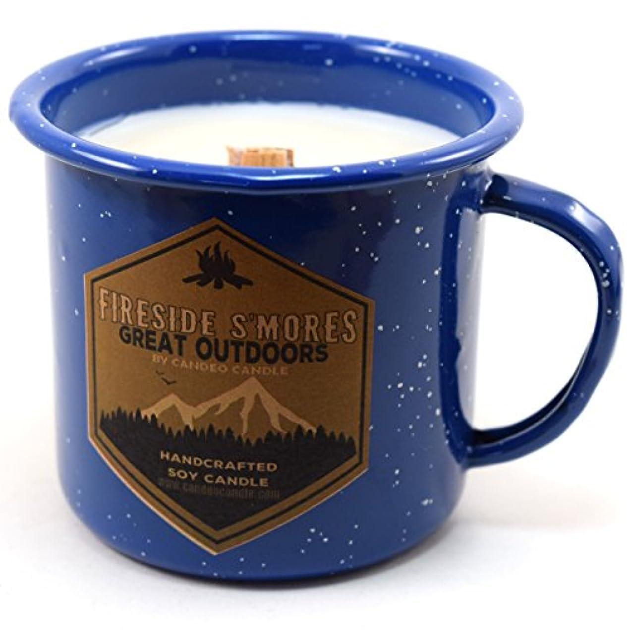 篭お気に入り代表するFiresideスモアWood Wick Soy Candle in anエナメルキャンプマグカップ、10オンス