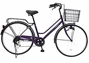 CHACLE(チャクル) 空気入れ不要! ノーパンク自転車 軽快車 26インチ [外装6段変速、ブラウンパーツ装備] パープル FN-CC266W-SP