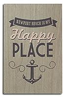 カリフォルニア–ニューポートビーチis my happy place 10 x 15 Wood Sign LANT-54658-10x15W