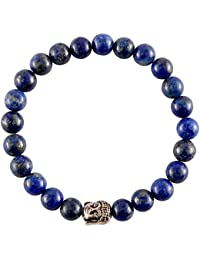 Aatm Reiki Energized Gift Natural Gemstone 7-8mm Round Beads Buddha Beaded Lapiz Lazuli Gemstone Chakra Stretch Bracelet Unisex for Healing (Stone of Enlightenment,Balancing,Energy,Honesty,Healing)