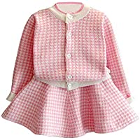 C&M Wodro Girls Dress, Autumn Winter Toddler Kids Plaid Knitted Sweater Dress Set Baby Girls Coat Tops+Skirt Set