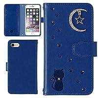 Galaxy S10 SC-03Lケース 手帳型 カバー かわいい 猫 星 月 型押し エンボス レザー調 手帳 スマホケース カード収納 ケース (ブルー) 全機種対応 Docomo