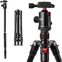 Tycka カメラ用三脚 一脚可変式&自由雲台付き 4段 全高164cm アルミ製  軽量&コンパクト&安定性 野外撮影に最適 デジタルカメラ 一眼レフカメラ Canon Nikon Petax Sonyなど用 ブラック TK101