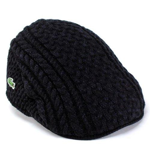 ハンチング 帽子 メンズ 秋冬/ニットハンチング フリーサイズ/縄編み ニット/ブラック ラコステ