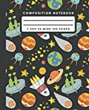 Composition Notebook: Alien Planet Space Composition Notebook Wide Ruled Journal For Writing Spaceship Blank Lined Workbook for Students For School Homework