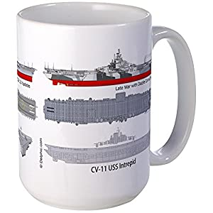 CafePress–USS Intrepid cv-11cva-11cvs-11Large Mug–コーヒーマグ, Large 15オンスホワイトコーヒーカップ