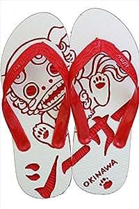 沖縄らしいシーサー島ぞうりアート (赤): 文房具・オフィス用品