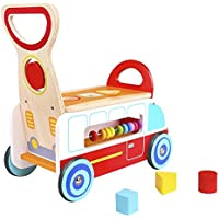 pidoko Kids木製Ride On Multi FunctionalベビーWagon – Wooden push and pull Peddleスクートバランスバイクウォーカーカートおもちゃfor Boys & Girls幼児、年齢18か月and up