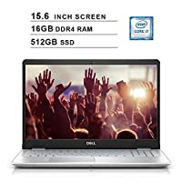 Dell Inspiron 15 5000 15.6 Inch FHD 1080P Laptop - Intel Quad Core i7-8565U up to 4.6 GHz, Intel UHD 620, 16GB DDR4 RAM, 512GB SSD, HDMI, Bluetooth, WiFi, Windows 10, Silver