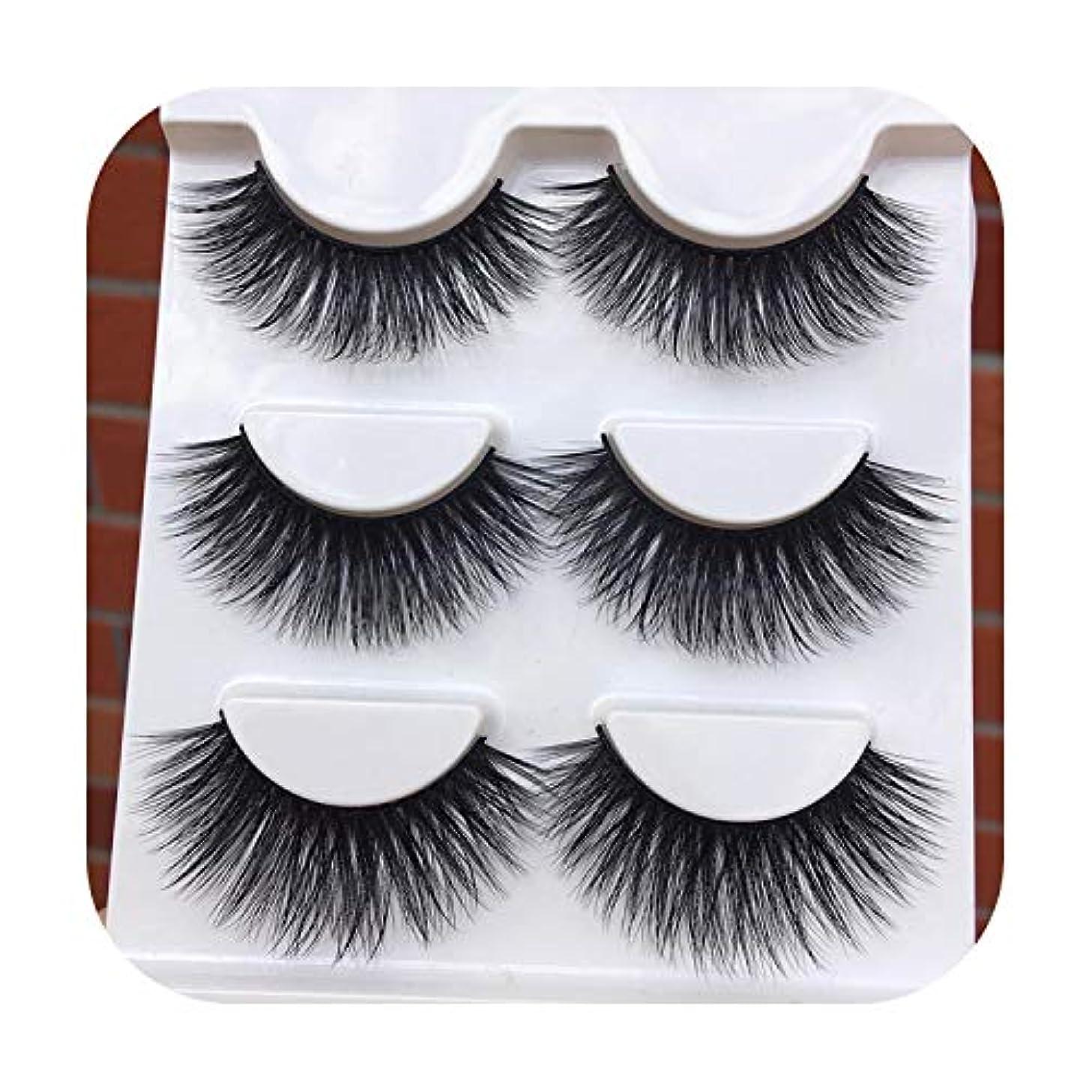 ショッキング平均確認する新しい黒の誇張された3 Dつけまつげ柔らかい綿ステッチ高品質繊維偽まつげクロス乱雑な化粧アイまつげ,1 box 3 pairs