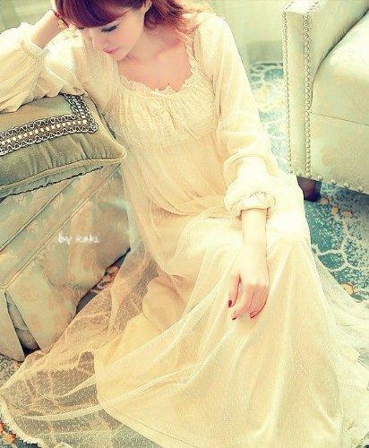 『まるでプリンセス ネグリジェ ロング 姫系 パフスリーブ が かわいい 長そで タイプ』の1枚目の画像