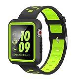 VICARA for Apple Watch Band 新型バンド 高級シリカゲル素材+赤縞ストライプ デザイン +柔らか運動型Nike Apple Watch Series 3/Series 2/Series 1 に対応するウォッチバンド(42mm 黒&緑)
