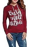 レディース セーター pogtmmレディース長袖クリスマス文字プルオーバーカジュアルパーカーセーター
