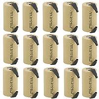 Kastar 15パックサブC 2200mAhニッカド電池フラットトップの充電式バッテリー(タブ)