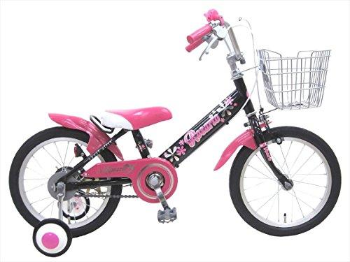 【組立済み】 ロサリオ(ROSARIO) 16インチ ブラックピンク 補助輪付き 幼児用自転車