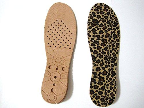 背がのび~る 靴底に入れるだけで身長 3cm~6cm UP! 【シークレット インソール】(ステンレス製の靴べら 付き)男女兼用 サイズ調整可能 TZAK-54 (豹柄)