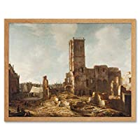Beerstraten Ruins Town Hall Amsterdam Fire July 1652 Art Print Framed Poster Wall Decor 12x16 inch ビール火ポスター壁デコ