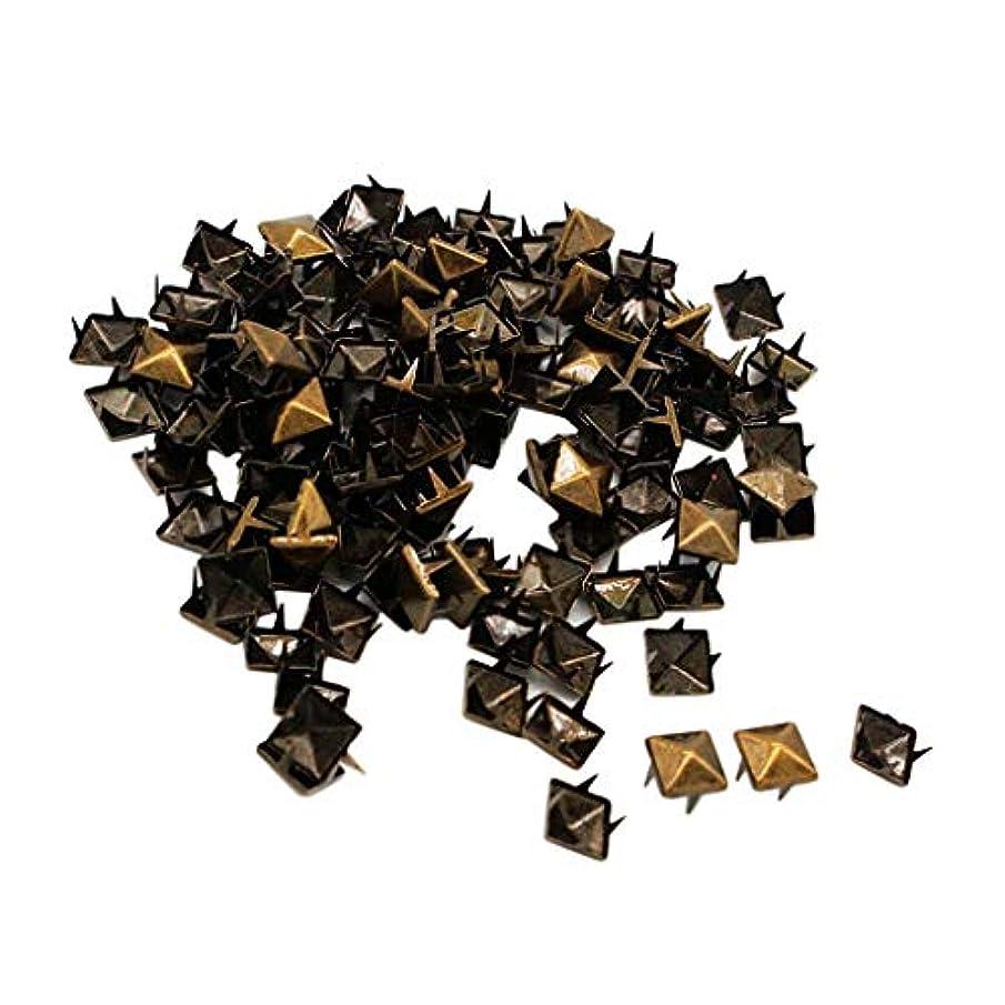 振るうヘビ勝つ卸売100セットスクエアピラミッドリベットメタルスタッドスパイクレザークラフトDIY - ブロンズ
