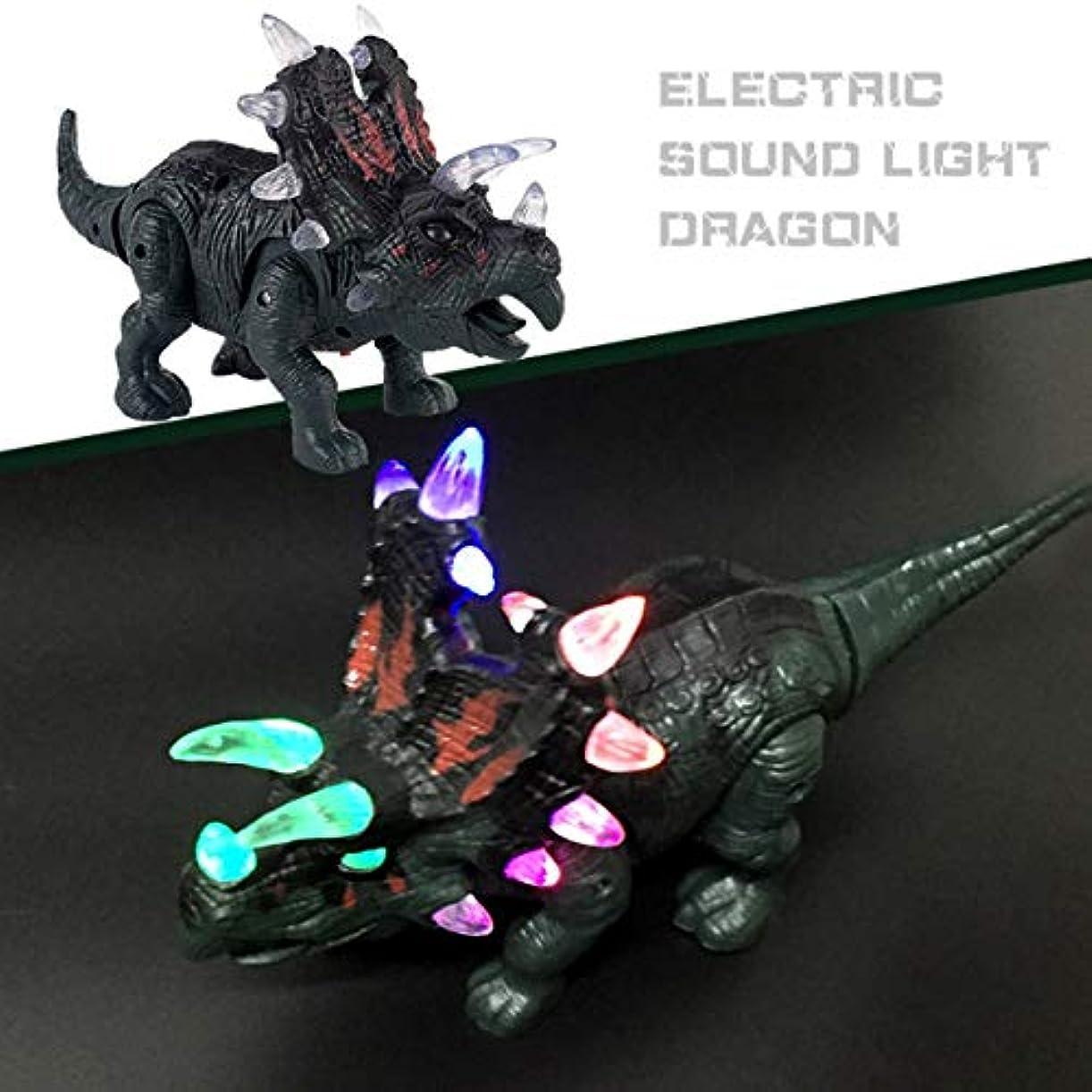介入する犯す膨張するQuquack 電子恐竜トリケラトプスおもちゃの光+音+ウォーキング模造恐竜子供のおもちゃ誕生日プレゼントサプライズギフト