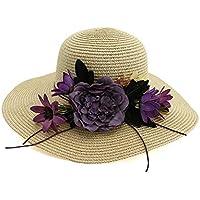 LUZIWEN Women Straw Hat Outdoor Flower Beach Hat Sun Visor Sun Hat Fashion Elegant Simple Big Hat (Color : Khaki, Size : 56-58CM)