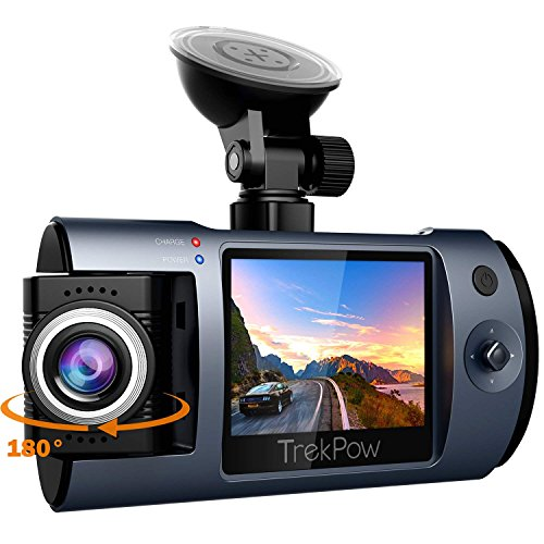 ABOX® TrekpowドライブレコーダーFull HD 1080P高画質 1200万画素 夜間記録 180°レンズ回転170°広視野角 【2018最新版】小型車載カメラ 高速起動 衝撃録画 駐車監視 動体検知 常時録画 ループ録画 操作簡単 最大64G SDカード