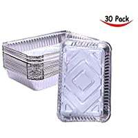(30 Pack) - Aluminium Foil Steam Table Deep Chafing Rectangular Disposable Pans for Baking Roasting Broiling and Cooking Cakes Loaves Bread Lasagna (30 Pack without Cover)