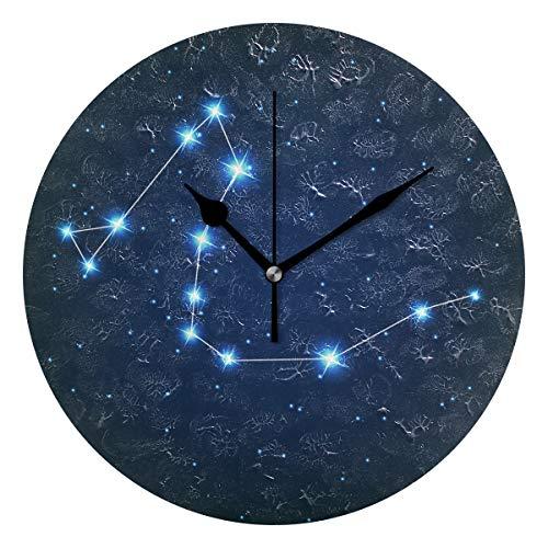 ユキオ(UKIO) 掛け時計 置き時計 壁掛け時計 室内 部屋装飾 壁時計 インテリア おしゃれ 北欧 りゅう座 夜空 きらきら 星 ギフト 時計 アート 部屋 ウォールクロック 円型 かわいい