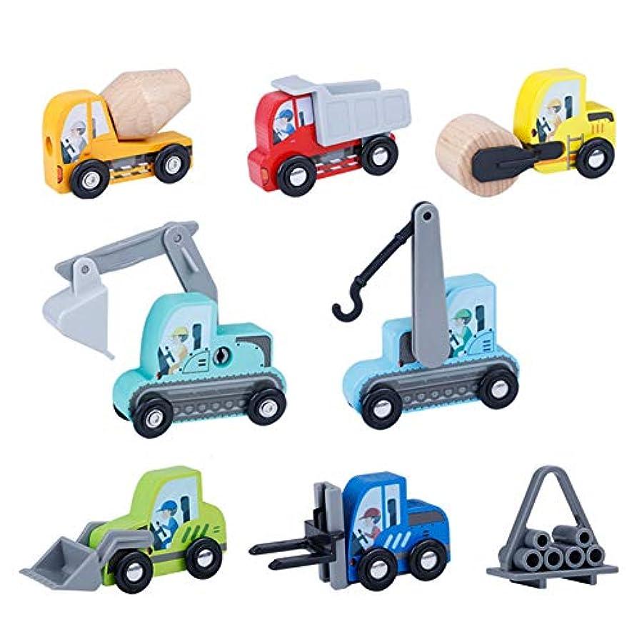 虐殺シフト獣Rabugoo 8pcs / set 1:64木製掘削機トラック車のおもちゃAutotruck破砕ハンマー車
