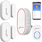 CPVAN WiFi Door Window Alarm, DIY Home Security Protection, 1 Base Station, 2 Magnetic Sensors, 1 Doorbell Transmitter Button