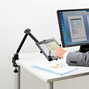 サンワダイレクト iPad Air 2 iPad mini 4 タブレットPC アームスタンド 7インチ~12インチ対応 クランプ取付け 100-MR068