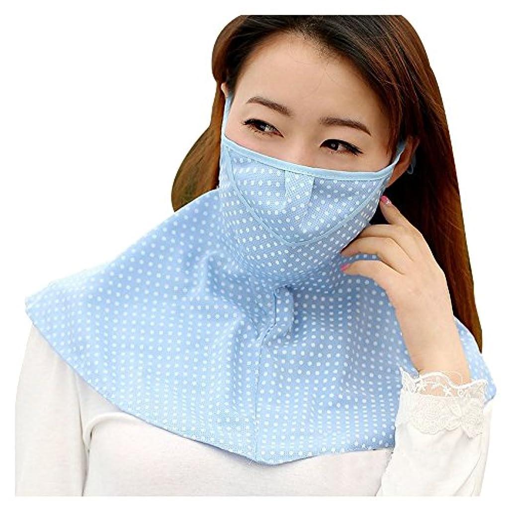 正当化する透過性鋭くPureNicot 日焼け防止 フェイスマスク UVカット 紫外線対策 農作業 ガーデニング レディース 首もともガード 3D UVマスク (ブルー ドット)