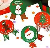 creve クリスマス ラッピング ラベル ギフト シール (48枚 サンタ ツリー 雪だるま 4種 4.5×3.5cm)
