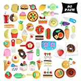 Smart Novelty Food Puzzle Erasers For Kids Party Favours And Classroom Prizes - Food Eraser Assortment - Bulk Pack Of 50 Cute Erasers