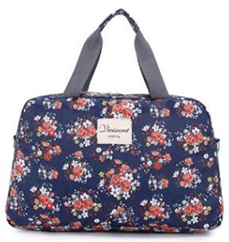 (ハナハナ) HANAHANA 花柄 軽量 ナイロン ボストンバッグ 旅行バッグ 2サイズ 肩掛け OK ショルダーストラップ 付 レディース i020 (ラージ, ネイビー)