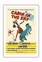 "Cabin In The Sky - 主演 Ethel Waters, Eddie ""Rochester"" Anderson, Lena Horne - ミュージカル - ビンテージなフィルム映画のポスター によって作成された アルバート・ハーシュフェルド c.1943 - プレミアム290gsmジークレーアートプリント - 61cm x 91cm"