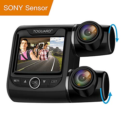 TOGUARD ドライブレコーダー 前後1080P 車内+車外 1200万画素 170度広角&270度回転 G-sensor 高速起動 SONYセンサー デュアルレンズ リアカメラ反転対応 スライドショー対応カメラ 日本語取説書 13ヶ月 保証