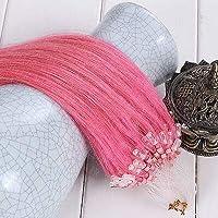 FidgetGear 50 / 100S容易なマイクロループシリコーンビーズのRemyの人間の毛髪延長16-26Inch ピンク