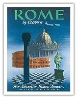 クリッパーによってローマ、イタリア - サンピエトロ大聖堂ティベリウス - パンアメリカン航空 - ビンテージな航空会社のポスター c.1951 - アートポスター - 51cm x 66cm