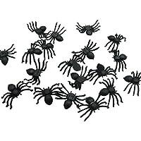 wffo 20個 ハロウィン プラスチック ブラック スパイダー ジョキング おもちゃ 装飾 リアルなデザイン ブラック SD-04