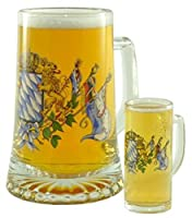 BAVARIAN FLAGS FATHER & SON STEIN - UNIQUE GERMAN BEER GLASS STEIN SET