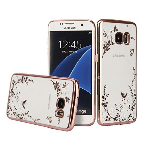 DOTORA Samsung Galaxy S7 Edge 専用ソフトケース おしゃれ かわいい 花柄 デコ電 キラキラ TPU ソフト 薄型 軽量 衝撃吸収 保護 カバー クリア 白花 ローズゴールド
