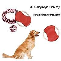 犬ロープ噛むおもちゃ、sacow 3個ペットMolars ToysナットノットボールFlyer犬おもちゃコットンロープペットフリスビー