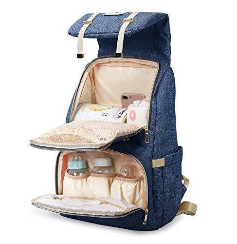 マザーズバッグ リュック 大容量 お洒落 多機能 ママバッグ ベビー用品収納 おむつ替えシート付き ベビーカー用ベルト付き トートバッグ 出産お祝い ブルー
